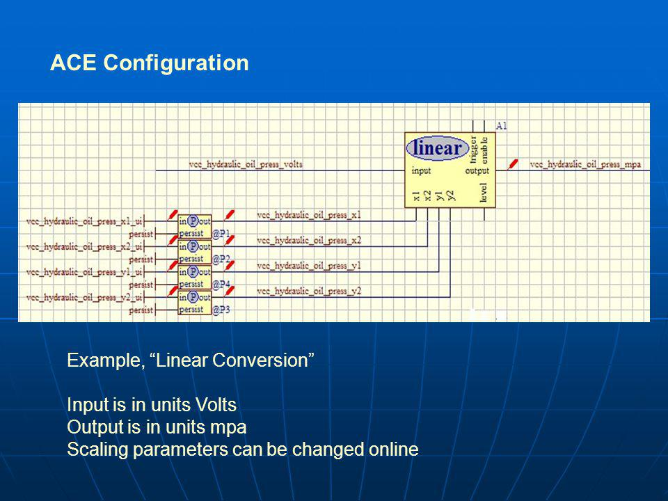 ACE Configuration Example, Linear Conversion Input is in units Volts Output is in units mpa Scaling parameters can be changed online