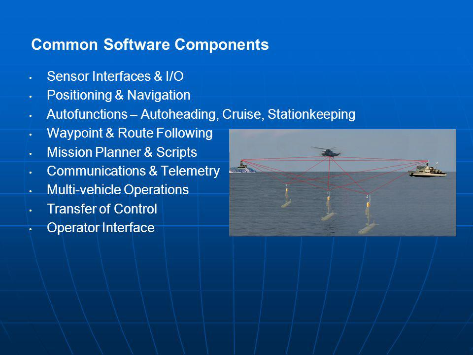 Common Software Components Sensor Interfaces & I/O Positioning & Navigation Autofunctions – Autoheading, Cruise, Stationkeeping Waypoint & Route Following Mission Planner & Scripts Communications & Telemetry Multi-vehicle Operations Transfer of Control Operator Interface