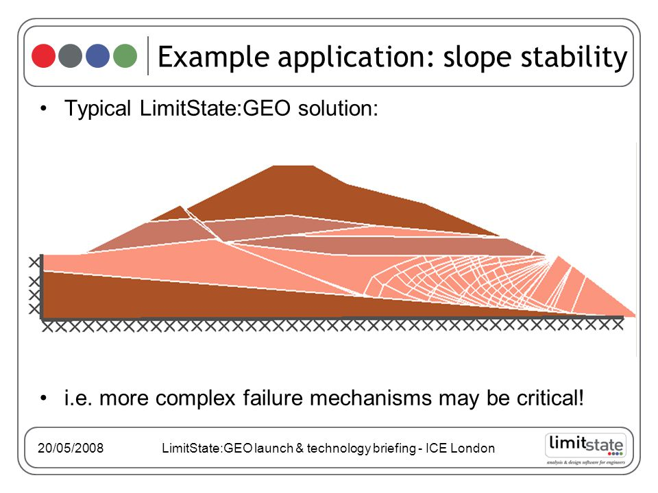 20/05/2008 LimitState:GEO launch & technology briefing - ICE London Typical LimitState:GEO solution: i.e.