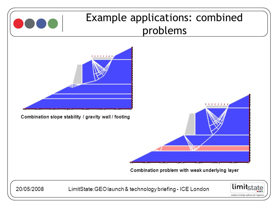 20/05/2008 LimitState:GEO launch & technology briefing - ICE London Example applications: combined problems Combination problem with weak underlying layer Combination slope stability / gravity wall / footing