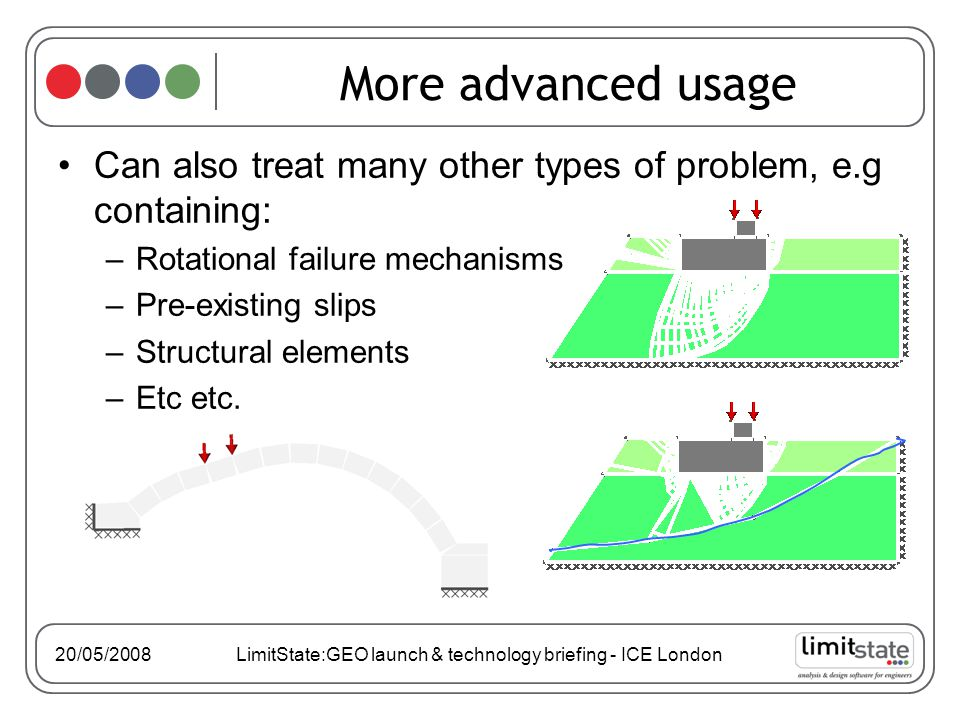 20/05/2008 LimitState:GEO launch & technology briefing - ICE London More advanced usage Can also treat many other types of problem, e.g containing: –Rotational failure mechanisms –Pre-existing slips –Structural elements –Etc etc.