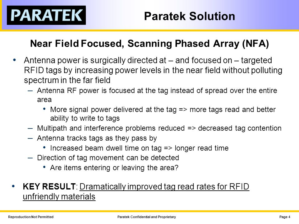 Reproduction Not PermittedParatek Confidential and ProprietaryPage 4 Paratek Solution Near Field Focused, Scanning Phased Array (NFA) Antenna power is