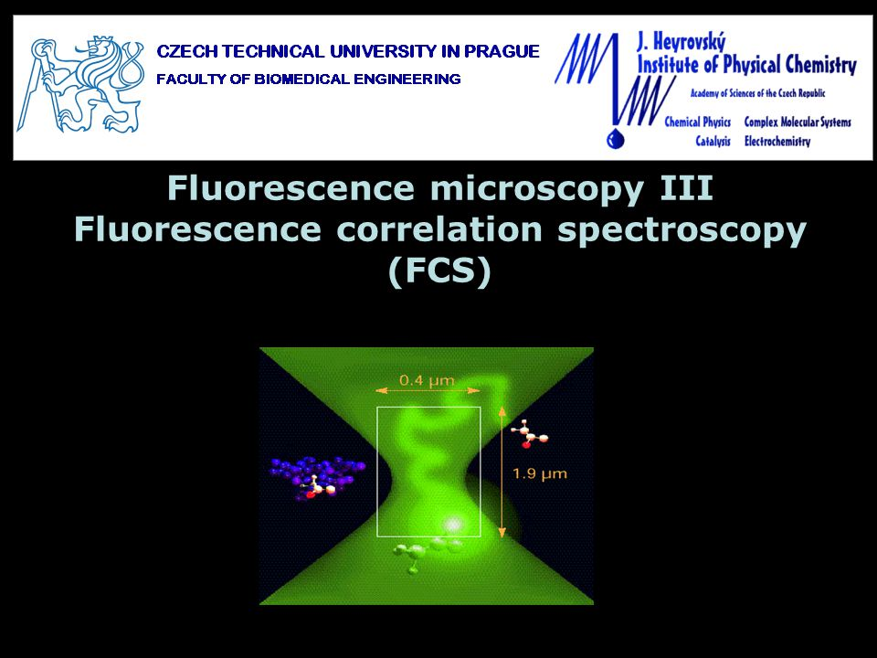 Detection volume in confocal microscopy: x ~ 200 nm z ~ 1 m the volume from which fluorescence is collected in a confocal (or a multiphoton) is defined by the diffraction limited focusing and the collection efficiency of the objective - Point spread function (PSF) of the microscope typically of femtoliter volume In a diluted solution (~ nM) the average number of molecules in detection volume ~ 1 The measured fluorescence signal is then very noisy due to fluctuations in the number of molecules in detection volume, their transitions to nonfluorescent states (triplet, …) ~ 3D Gaussian profile