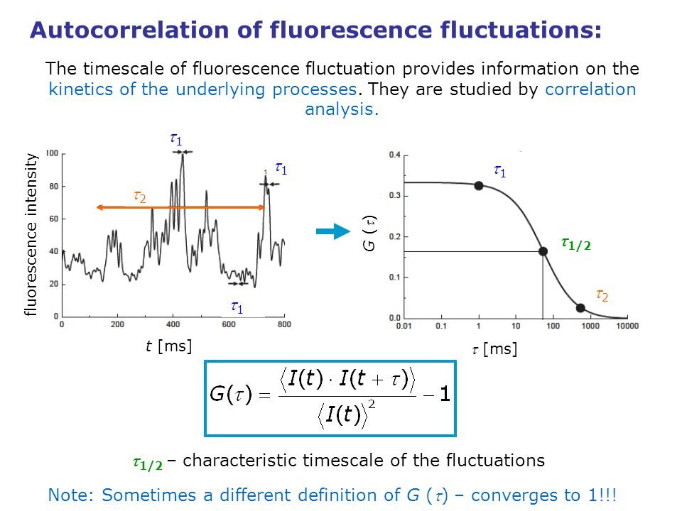 Timescale of fluctuations in FCS: The timescale of fluorescence fluctuation provides information on the kinetics of the underlying processes.