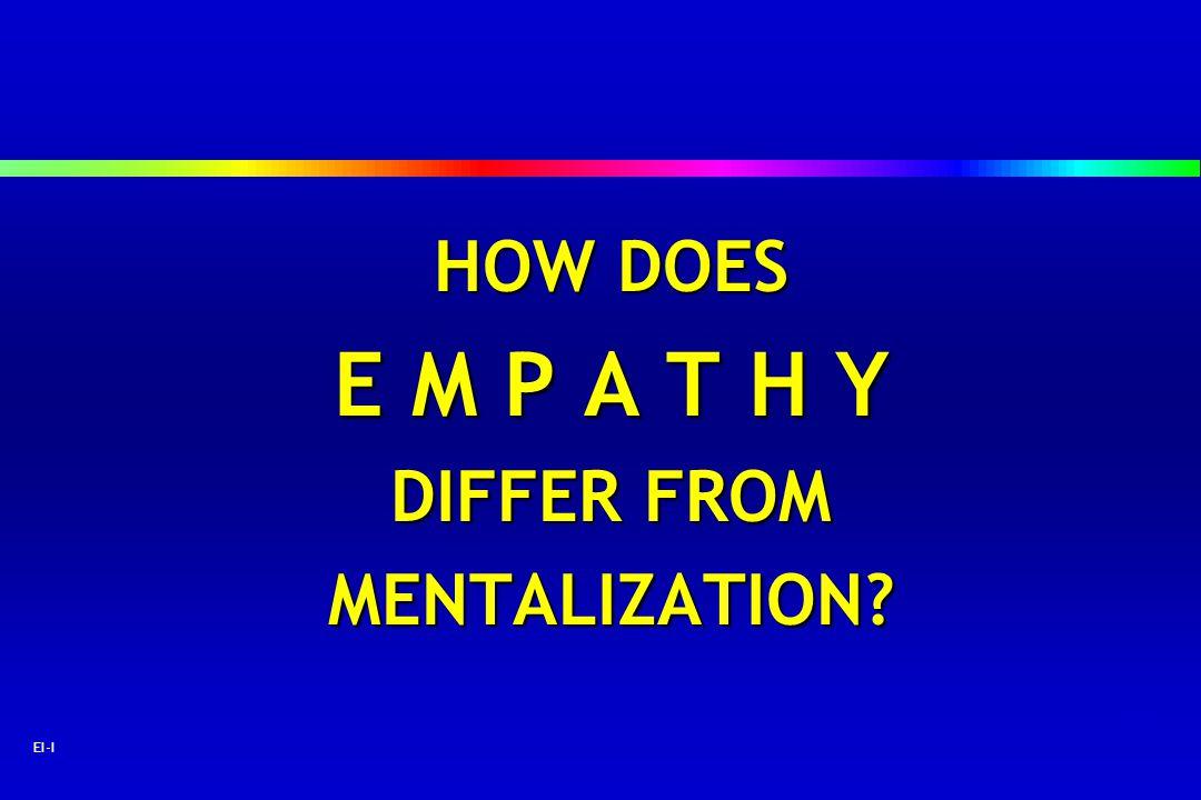 55 EI-I HOW DOES E M P A T H Y DIFFER FROM MENTALIZATION?