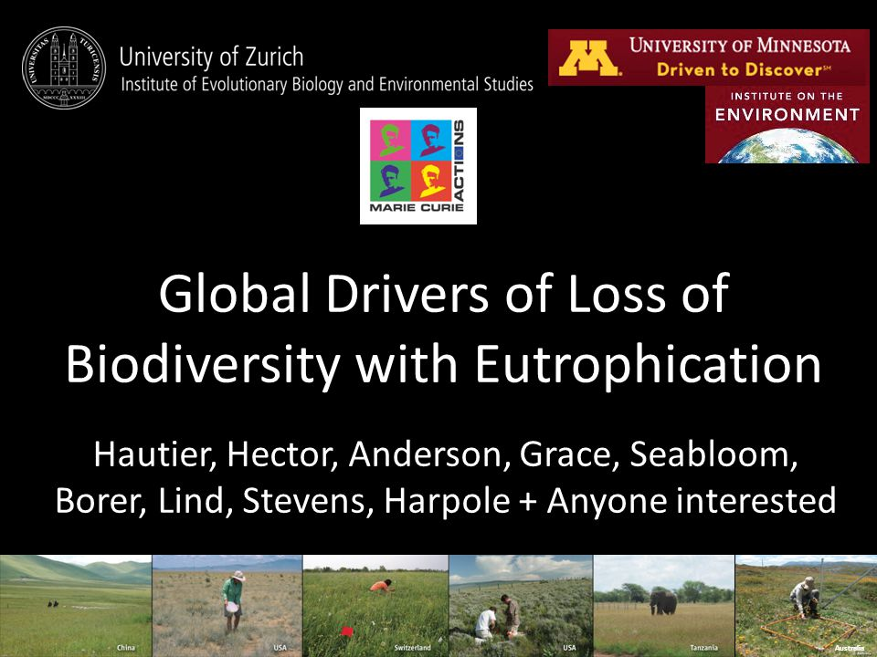 Global Drivers of Loss of Biodiversity with Eutrophication Hautier, Hector, Anderson, Grace, Seabloom, Borer, Lind, Stevens, Harpole + Anyone interested Australia