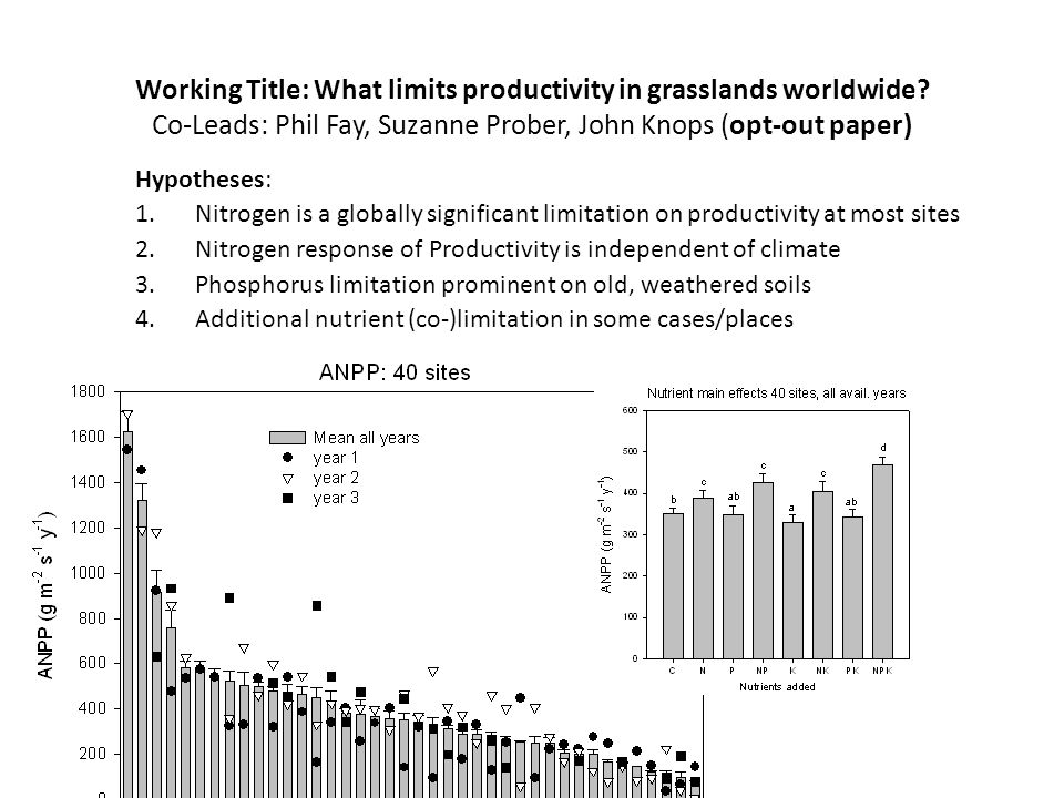 Working Title: What limits productivity in grasslands worldwide.