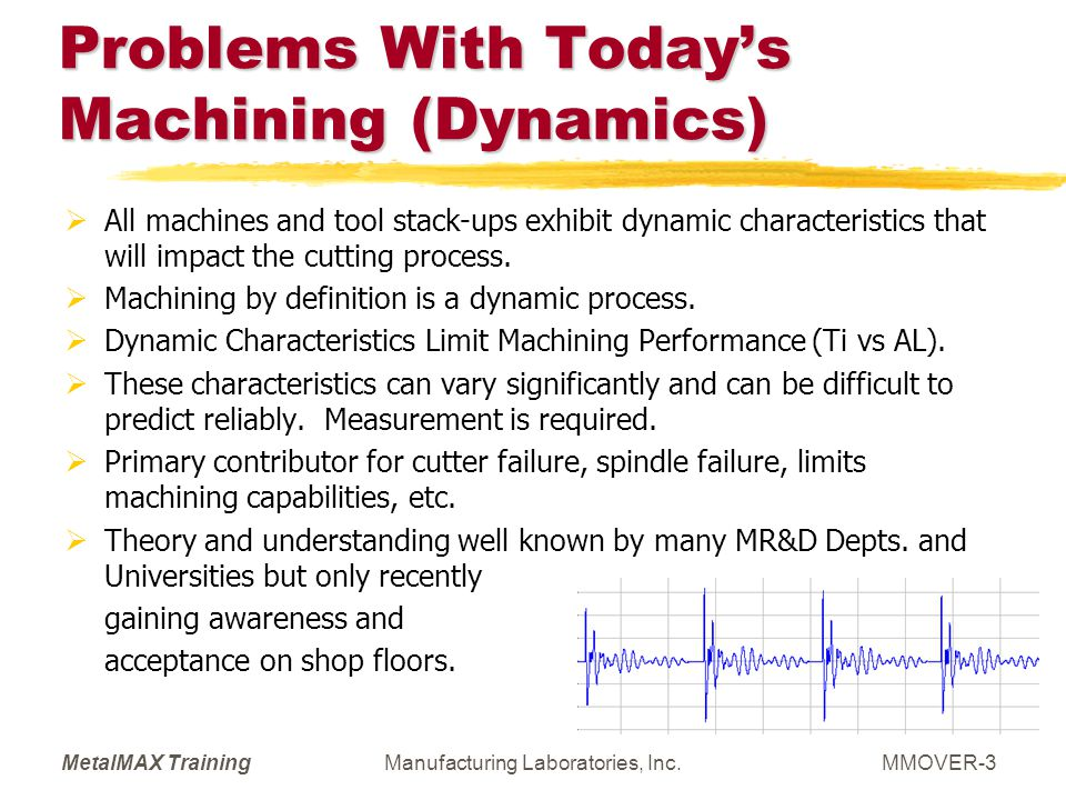 MetalMAX TrainingManufacturing Laboratories, Inc.MMOVER-14 3 Knowledge Possibilities Exist You understand the performance capabilities of your machine very well and write part programs respecting the limitations.