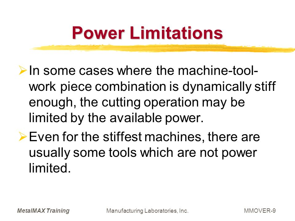 MetalMAX TrainingManufacturing Laboratories, Inc.MMOVER-30 Whats Needed.