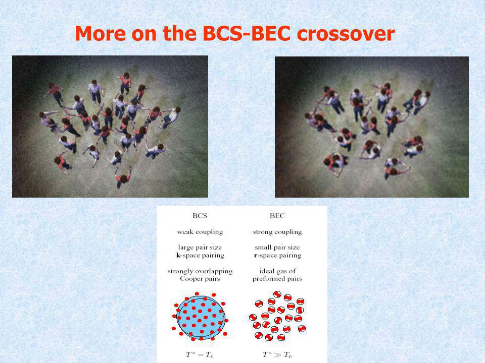 More on the BCS-BEC crossover