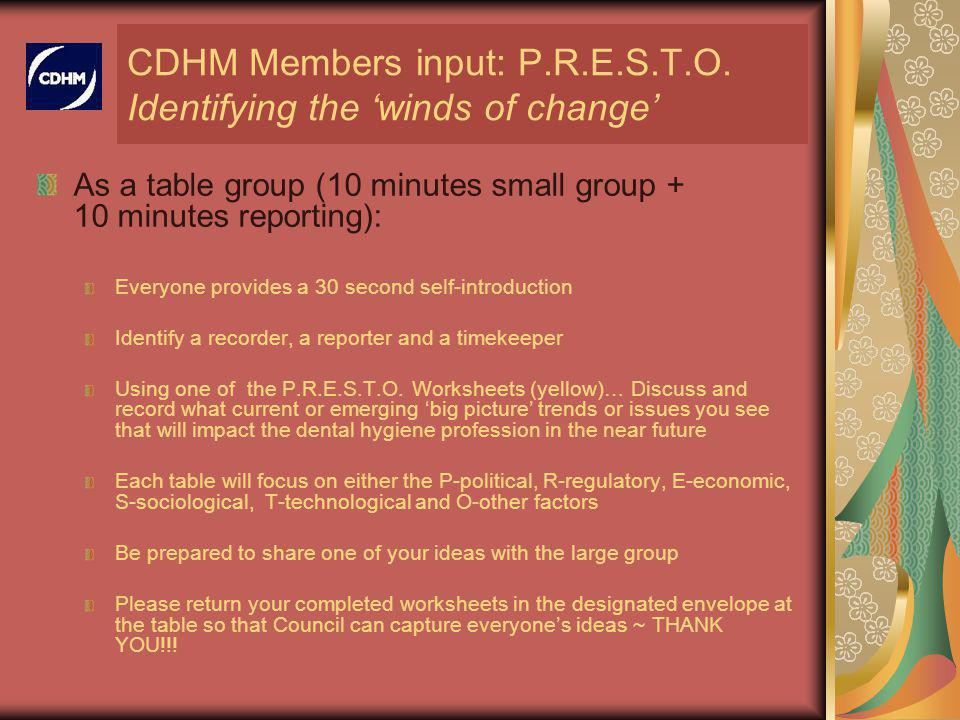 CDHM Members input: P.R.E.S.T.O.