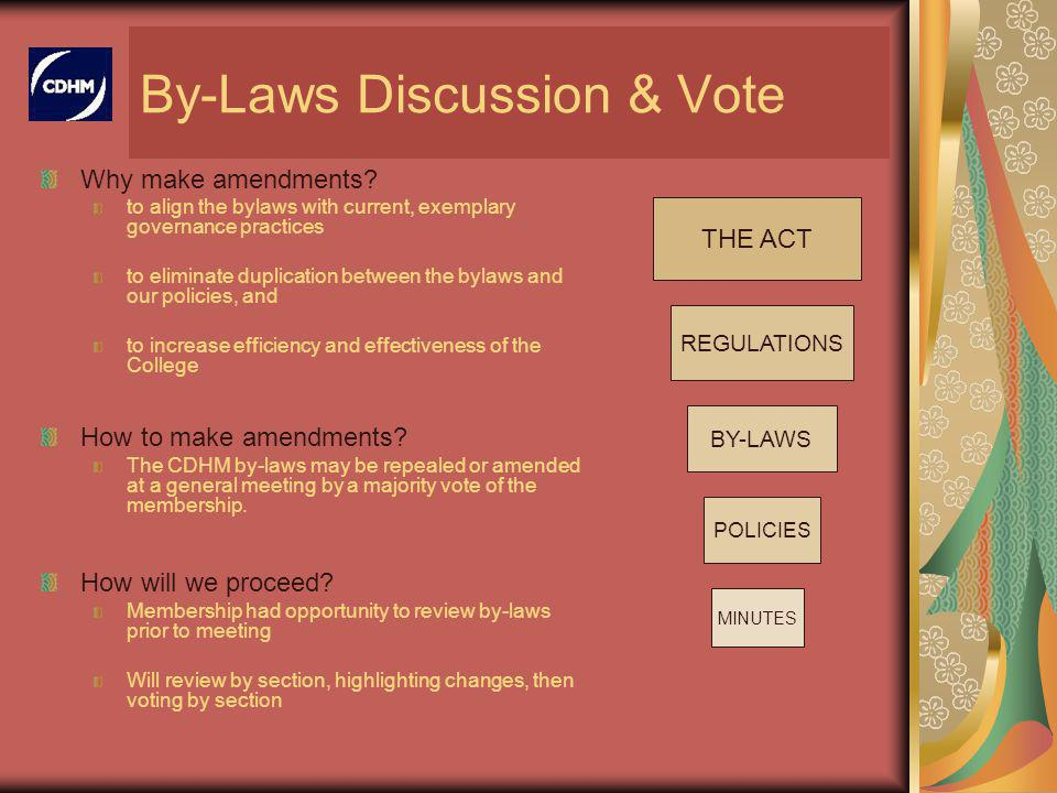 By-Laws Discussion & Vote Why make amendments.