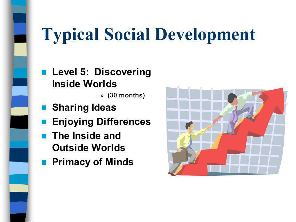 Typical Social Development Level 5: Discovering Inside Worlds »(30 months) Sharing Ideas Enjoying Differences The Inside and Outside Worlds Primacy of Minds