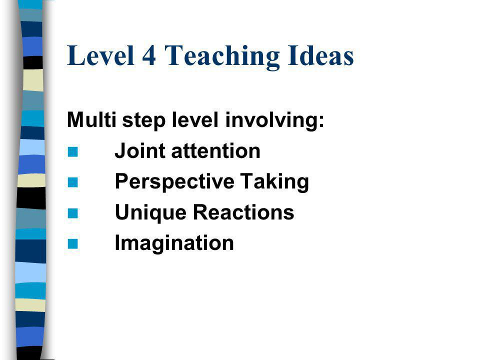 Level 4 Teaching Ideas Multi step level involving: Joint attention Perspective Taking Unique Reactions Imagination