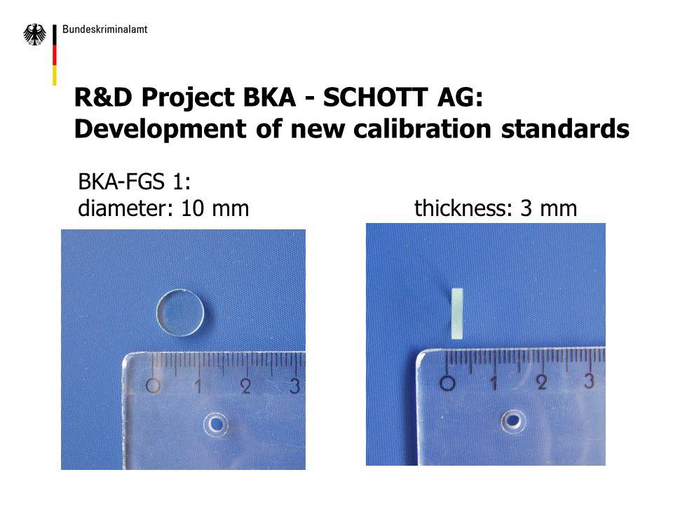 BKA-FGS 1: diameter: 10 mmthickness: 3 mm R&D Project BKA - SCHOTT AG: Development of new calibration standards