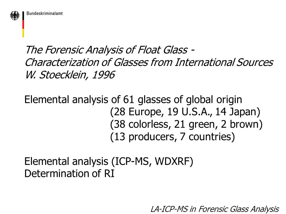 LA-ICP-MS in Forensic Glass Analysis: Variation of main & minor element concentration of 63 float glasses of global origin