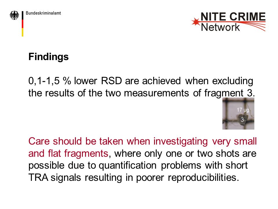 Findings 0,1-1,5 % lower RSD are achieved when excluding the results of the two measurements of fragment 3.