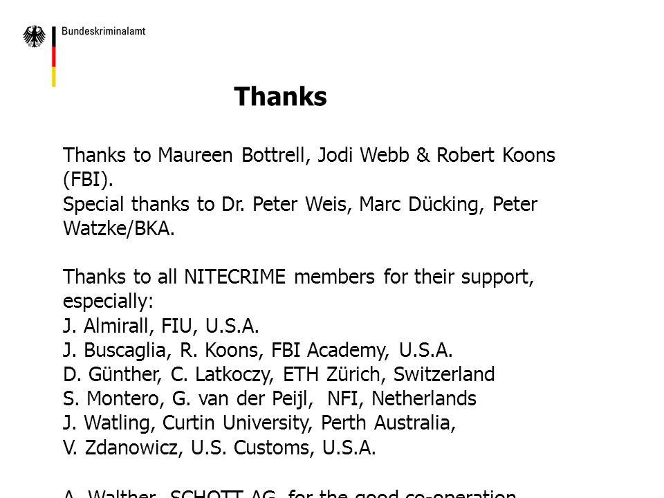 Thanks to Maureen Bottrell, Jodi Webb & Robert Koons (FBI).