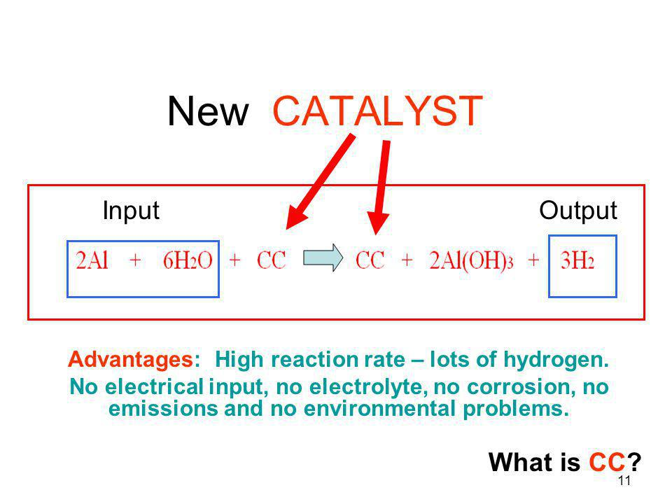 11 New CATALYST Advantages: High reaction rate – lots of hydrogen. No electrical input, no electrolyte, no corrosion, no emissions and no environmenta