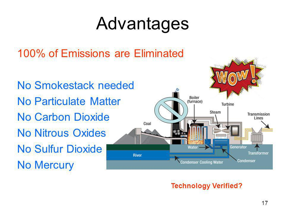 17 Advantages 100% of Emissions are Eliminated No Smokestack needed No Particulate Matter No Carbon Dioxide No Nitrous Oxides No Sulfur Dioxide No Mer