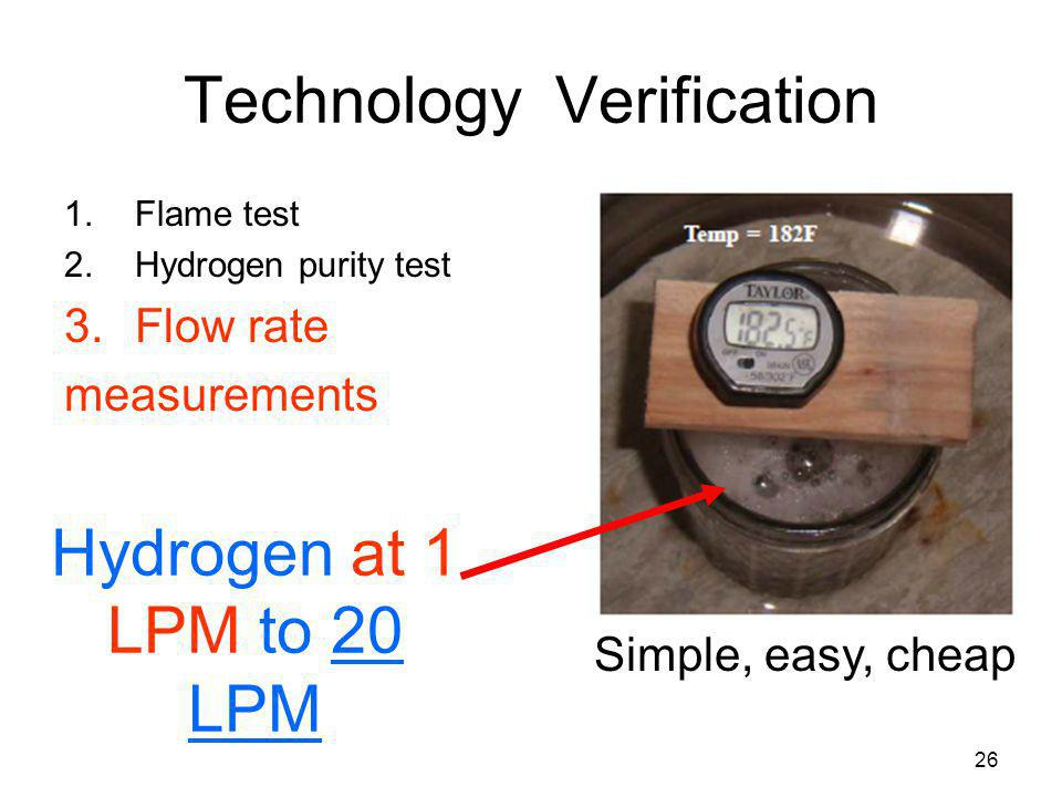 26 Technology Verification 1.Flame test 2.Hydrogen purity test 3.Flow rate measurements Hydrogen at 1 LPM to 20 LPM Simple, easy, cheap