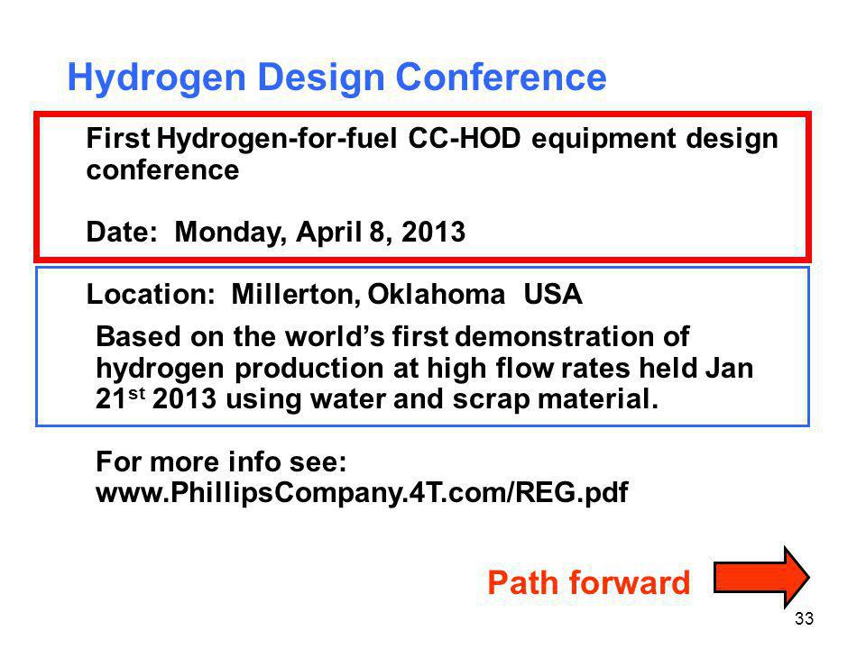 33 Path forward Hydrogen Design Conference First Hydrogen-for-fuel CC-HOD equipment design conference Date: Monday, April 8, 2013 Location: Millerton,