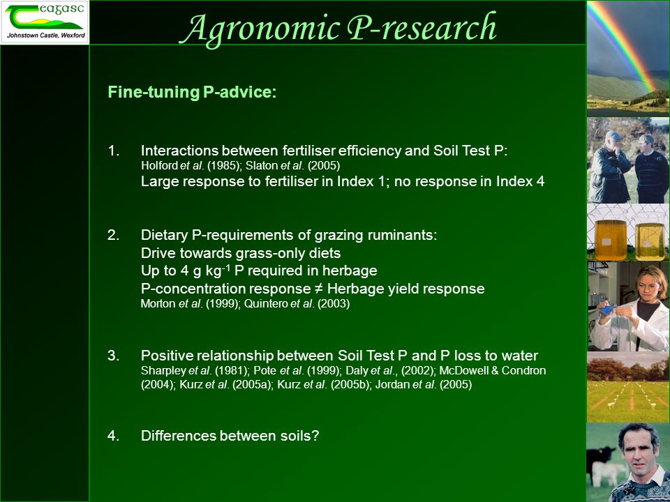 Agronomic P-research Fine-tuning P-advice: 1.Interactions between fertiliser efficiency and Soil Test P: Holford et al.