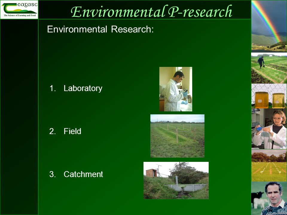 Environmental P-research Environmental Research: 1.Laboratory 2.Field 3.Catchment