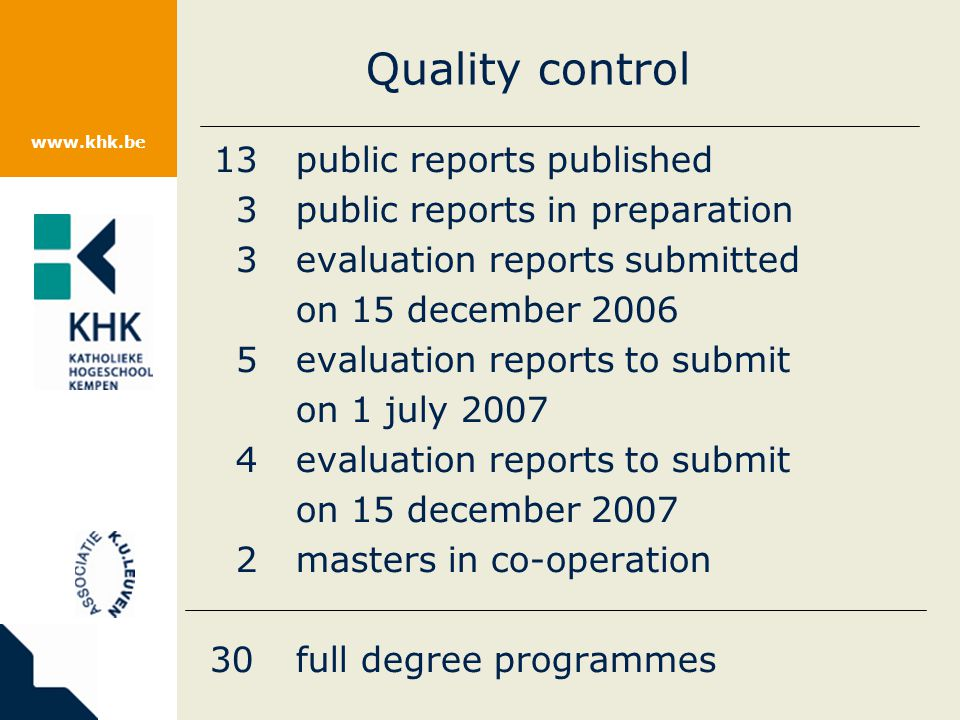 www.khk.be Quality control 13public reports published 3public reports in preparation 3evaluation reports submitted on 15 december 2006 5evaluation reports to submit on 1 july 2007 4evaluation reports to submit on 15 december 2007 2masters in co-operation 30full degree programmes