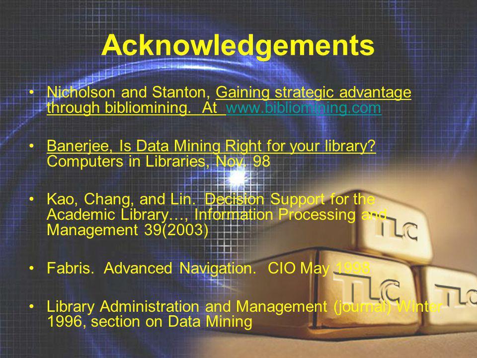 Acknowledgements Nicholson and Stanton, Gaining strategic advantage through bibliomining. At www.bibliomining.comwww.bibliomining.com Banerjee, Is Dat