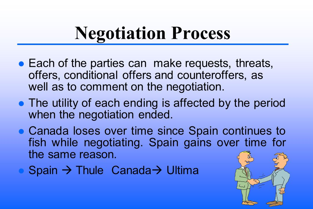 Negotiation Process Each of the parties can make requests, threats, offers, conditional offers and counteroffers, as well as to comment on the negotiation.