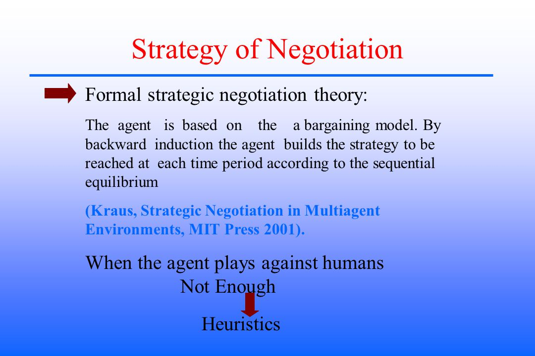 Strategy of Negotiation Formal strategic negotiation theory: The agent is based on the a bargaining model.
