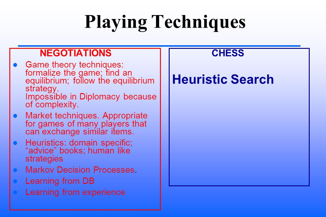 Playing Techniques NEGOTIATIONS Game theory techniques: formalize the game; find an equilibrium; follow the equilibrium strategy.