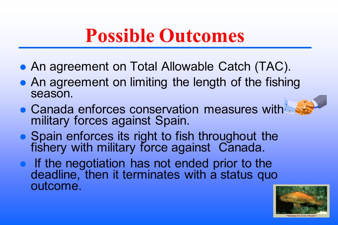 Possible Outcomes An agreement on Total Allowable Catch (TAC).