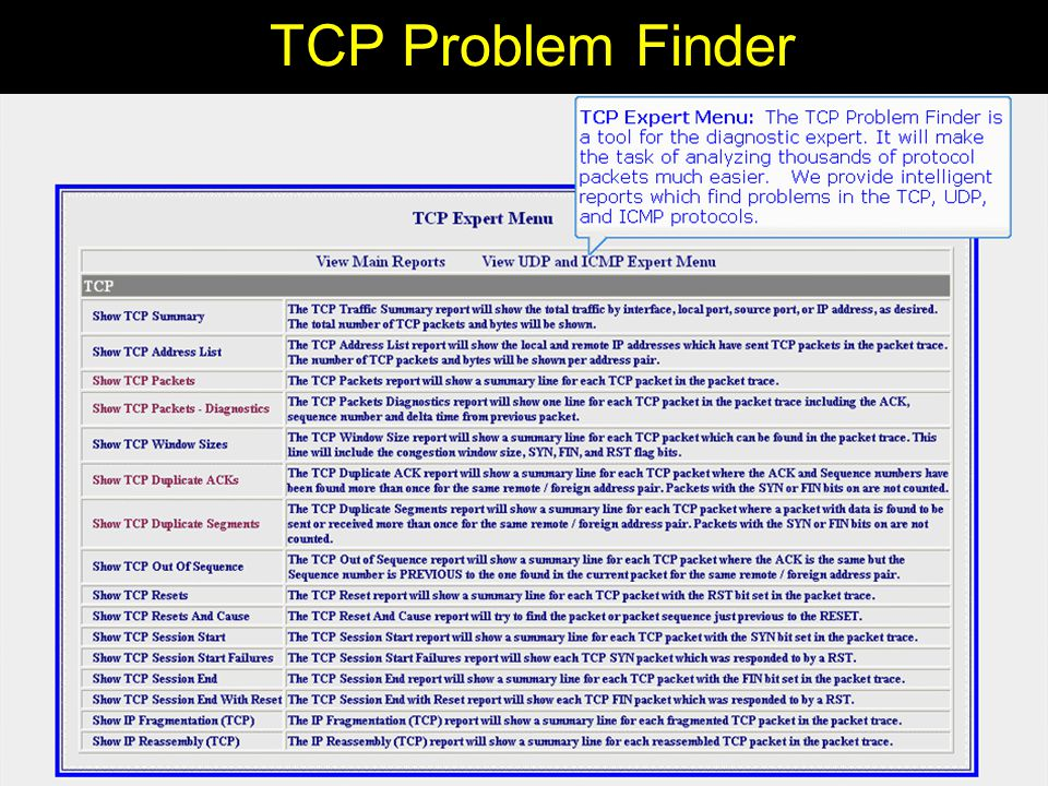 TCP Problem Finder The product most directed to the serious diagnostician : TCP Problem Finder allows you to: –Find problems in diagnostic traces - which can consist of thousands or hundreds of thousands of packets –See the exact flow in a connection from a high level overview or the details –We use this product ourselves in consulting.