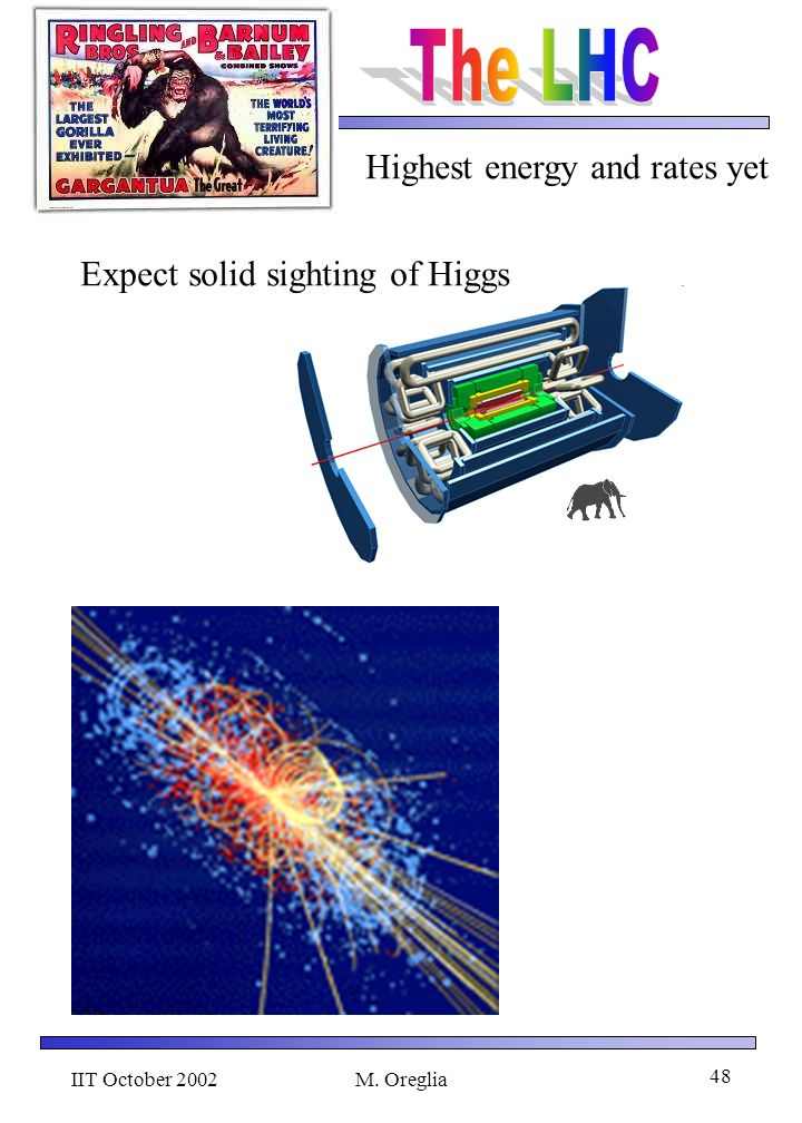 IIT October 2002M. Oreglia 48 Highest energy and rates yet Expect solid sighting of Higgs