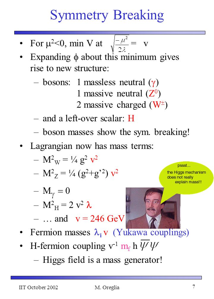 IIT October 2002M. Oreglia 6 The Standard Model It was so simple before 1968: –QED: massive fermions –massless photon; no because it violates Gauge in