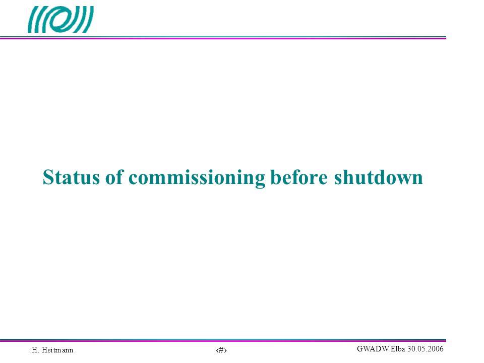 2 GWADW Elba 30.05.2006 Status of commissioning before shutdown