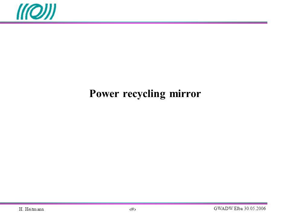 7 GWADW Elba 30.05.2006 Power recycling mirror