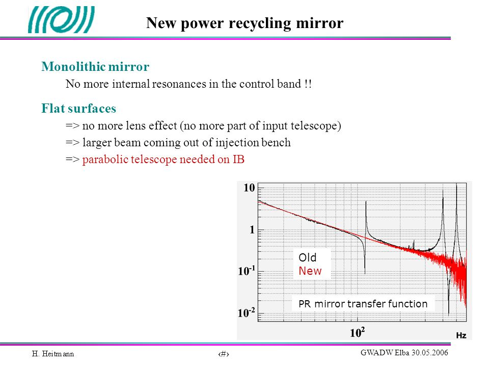 9 GWADW Elba 30.05.2006 New power recycling mirror Monolithic mirror No more internal resonances in the control band !.