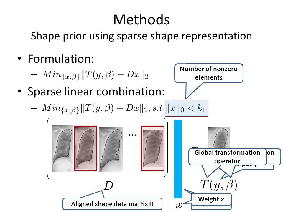 Methods Shape prior using sparse shape representation Non-Gaussian errors: – 10