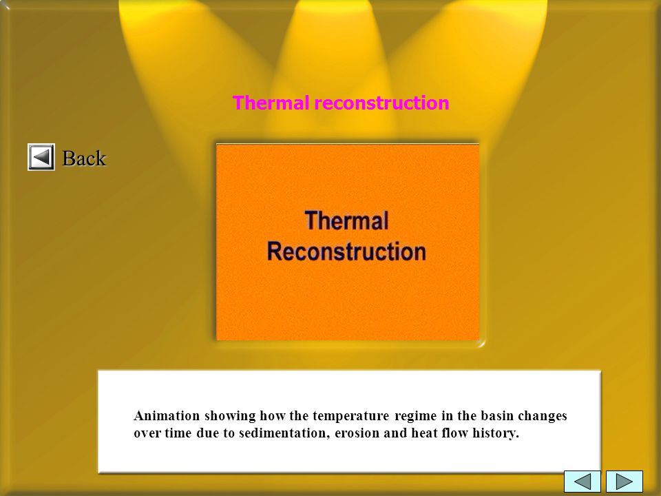 Title page DevelopersReferences 2 GeohistoryGeohistory 3 IsostasyIsostasy 4 TectonicsTectonics 5 TemperatureTemperature 6 Hydrocarbon MaturationHydrocarbon Maturation Topic overview 7 Hydrocarbon MigrationHydrocarbon Migration What is Basin Modelling 1 Interpretation & depht convertionInterpretation & depht convertion Thermal reconstruction Animation showing how the temperature regime in the basin changes over time due to sedimentation, erosion and heat flow history.