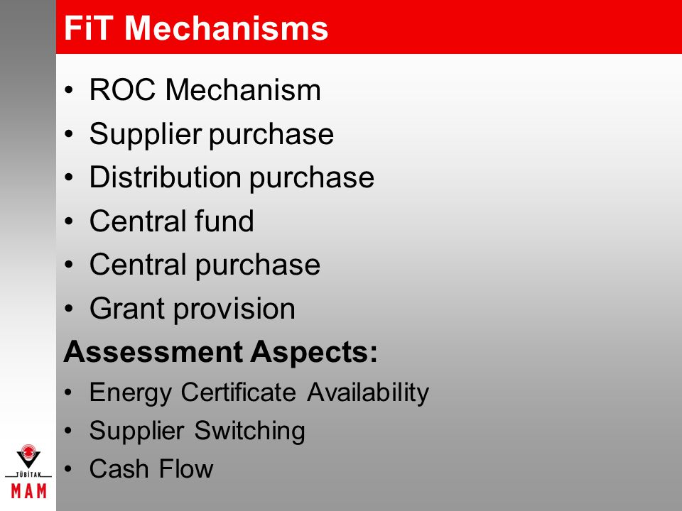FiT Mechanisms ROC Mechanism Supplier purchase Distribution purchase Central fund Central purchase Grant provision Assessment Aspects: Energy Certificate Availability Supplier Switching Cash Flow