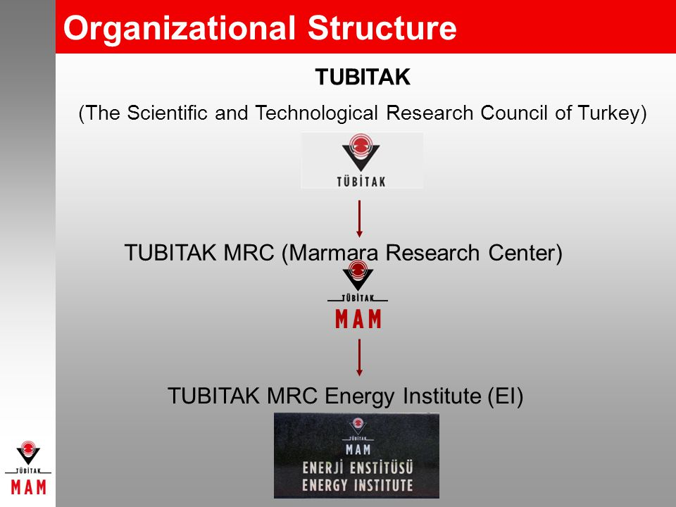 Organizational Structure TUBITAK (The Scientific and Technological Research Council of Turkey) TUBITAK MRC (Marmara Research Center) TUBITAK MRC Energy Institute (EI)