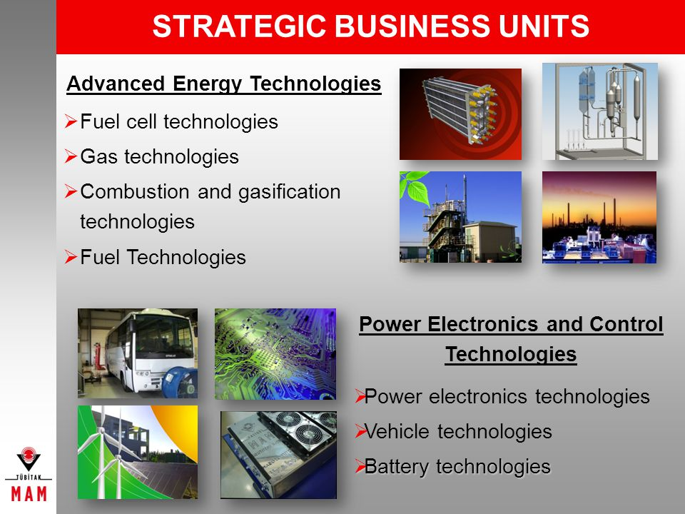 Power Electronics and Control Technologies Advanced Energy Technologies Fuel cell technologies Gas technologies Combustion and gasification technologies Fuel Technologies Power electronics technologies Vehicle technologies Battery technologies Battery technologies STRATEGIC BUSINESS UNITS
