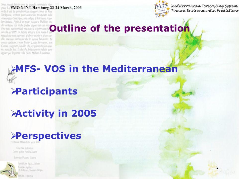 3 MFS-VOS in the Mediterranean PMO-3-INT Hamburg 23-24 March, 2006 SOOP is in the framework of MFS SOOP in Mediterranean is coordinated by ENEA Collaboration with CSIC-CEAB (Spain), CNRS-LOB-COM (France), CNR & OGS (Italy), IOF (Croatia), HCMR (Greece), IMS-METU (Turkey), OC-UCY (Cyprus), IOLR (Israel).