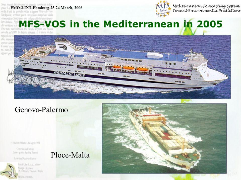 8 MFS-VOS in the Mediterranean in 2005 PMO-3-INT Hamburg 23-24 March, 2006 SOOP+COOP DB (>1000), T4(>100), T7(>100), T5(<20)
