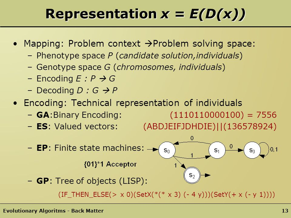 Evolutionary Algoritms - Structure of an EA12 General Schema EA Evolutionary Search (Pseudo Code) procedure EA { t = 0; Initialize(Pop(t)); Evaluate(Pop(t)); while(!TerminalCondition(Pop(t)) { Parents(t) = ParentSelection(Pop(t)); Offspring(t) = Recombination(Parents(t)); Offspring(t) = Mutation(Offspring(t)); Evaluate(Offspring(t)); Pop(t+1)= Replace(Pop(t),Offspring(t)); t = t + 1; }