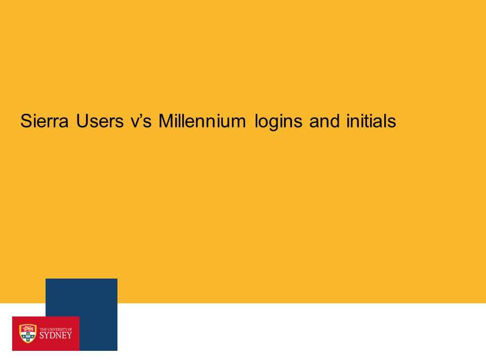 Sierra Users vs Millennium logins and initials