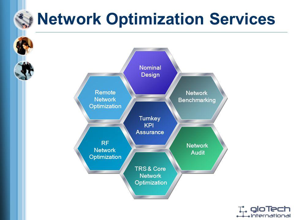 Network Optimization Services Nominal Design Remote Network Optimization Turnkey KPI Assurance Network Benchmarking Network Audit RF Network Optimization TRS & Core Network Optimization